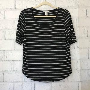 H&M Womens Size M Medium T-Shirt Gray Striped